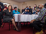 10 NOVEMBER 2019 - FT. DODGE, IOWA: US Senator KAMALA HARRIS (D-CA), left, talks to congregants at 2nd Baptist Church before services at the church Sunday.  Sen. Harris taught a biblical lesson at 2nd Baptist Church in Ft. Dodge as a part of her campaign to be the Democratic nominee for the US presidency in 2020. Iowa traditionally holds the first selection of the presidential election cycle. The Iowa caucuses are Feb. 3, 2020.      PHOTO BY JACK KURTZ