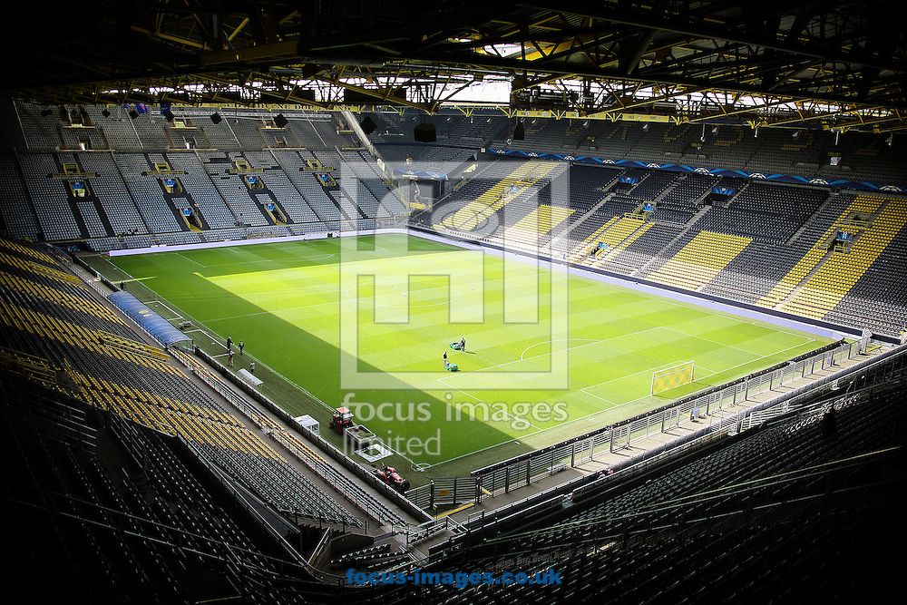 General view of Westfalenstadion, home of Borussia Dortmund before the UEFA Champions League match against Real Madrid<br /> Picture by Richard Calver/Focus Images Ltd +447792 981244<br /> 08/04/2014