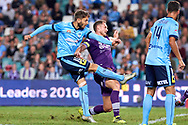 April 29, 2017: Sydney FC midfielder Milos NINKOVIC (10) takes a shot at goal at Semi Final one of the 2016/17 Hyundai A-League match, between Sydney FC and Perth Glory, played at Allianz Stadium in Sydney.