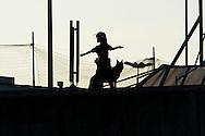 """Roma 7 Settembre 2014<br /> Protesta al Cie di Ponte Galeria contro i lunghi tempi di permanenza nella struttura del centro di identificazione ed espulsione. Gli   immigrati """"ospiti"""" del centro di identificazione ed espulsione sono saliti sul tetto della struttura e gridano: """"Liberi, liberi"""". Un agente di polizia con il cane sul tetto del Cie<br /> Rome September 7, 2014 <br /> Protest the Center for Identification and Expulsion (CIE) for immigrants from Ponte Galeria in Rome, against the long residence time in the structure of the center for identification and expulsion. Immigrants 'guests' of the center for identification and expulsion climbed on the roof of the structure and cry: """"Free, free."""" A police officer with the dog on the roof of Cie"""