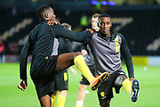 Burton Albion forward Lucas Akins (10) and Burton Albion forward Lloyd Dyer (23) warm up during the EFL Cup match between Burton Albion and Bournemouth at the Pirelli Stadium, Burton upon Trent, England on 25 September 2019.