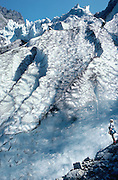 SWITZERLAND: Upper Grindelwald Glacier & Tom Dempsey. Published in Wilderness Travel 1989 Catalog.