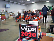 """24 JANUARY 2020 - POLK CITY, IOWA: People wait for a campaign event with Joe Walsh to start in Polk City, north of Des Moines. Walsh, a conservative radio personality, former Republican congressman, and one time supporter of Donald Trump is now challenging Trump for the Republican nomination for the US Presidency. During his appearance in Polk City, Walsh said Trump is unfit to be the President because he is a """"cheater,"""" a climate change denier, and a """"threat"""" to the United States.    PHOTO BY JACK KURTZ"""
