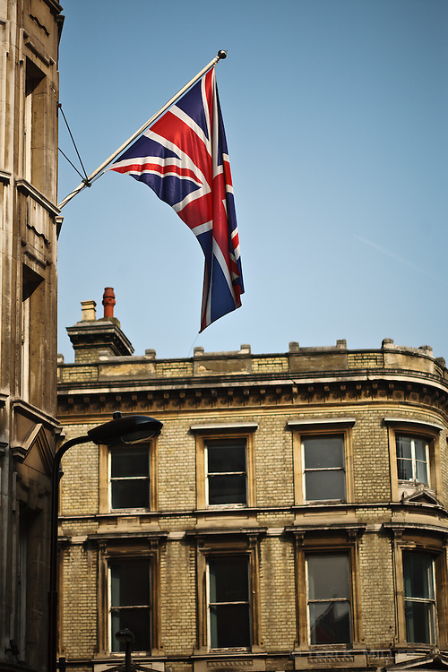 A British flag outside a building, London, England.