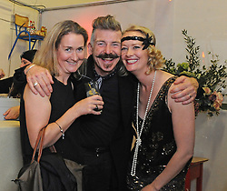 Aoife and Dorothy Bracken with Jerry Fish at the Absacker Speakeay at Westport Arts Festival over the weekend.<br /> Pic Conor McKeown