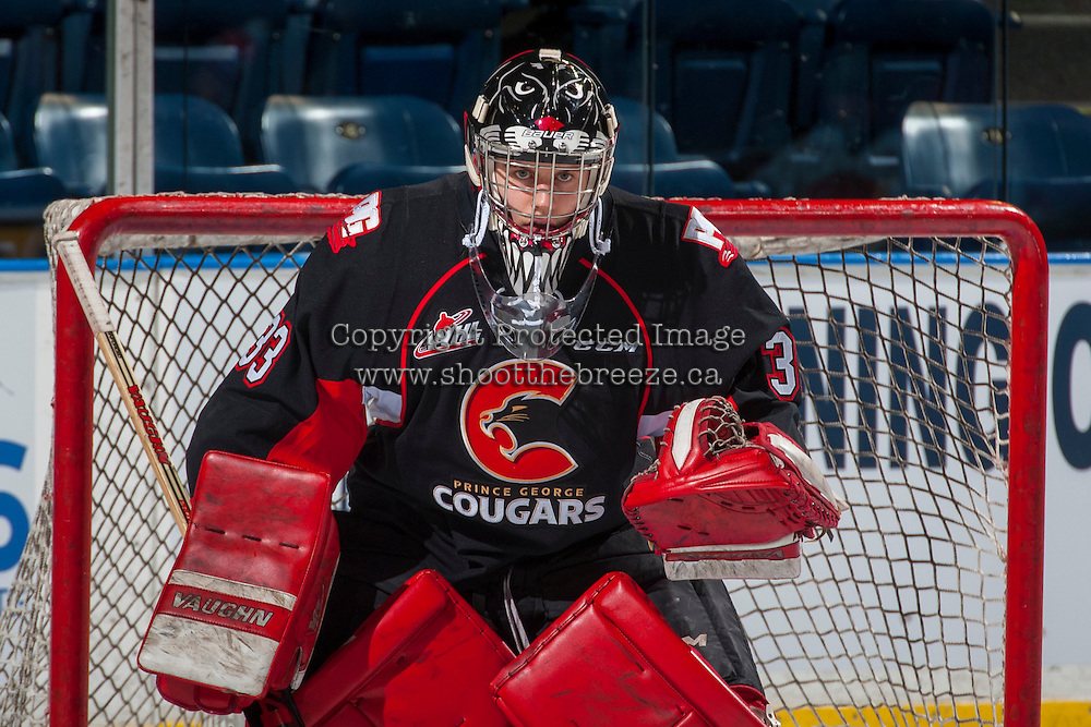 KELOWNA, CANADA - FEBRUARY 18: Nick McBride #33 of the Prince George Cougars stands in net during warm up against the Kelowna Rockets on February 18, 2017 at Prospera Place in Kelowna, British Columbia, Canada.  (Photo by Marissa Baecker/Shoot the Breeze)  *** Local Caption ***