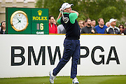 golf professional Marcus Fraser tees off the 1st at the BMW PGA Championship at the Wentworth Club, Virginia Water, United Kingdom on 27 May 2016. Photo by Simon Davies.