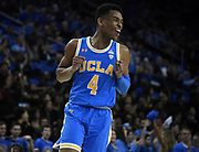 Feb 28, 2019; Los Angeles, CA, USA; UCLA Bruins guard Jaylen Hands (4) celebrates against the Southern California Trojans  in the first half at Pauley Pavilion. UCLA defeated USC 93-88 in overtime.