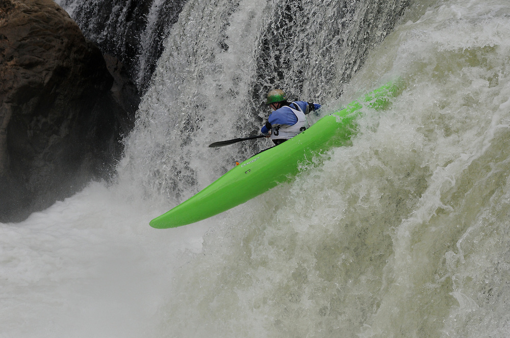Ohiopyle Falls Race, August 22, 2009 Whitewater kayakers going over the waterfall at Ohiopyle Over the Falls Festival, August 22, 2009.