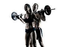one caucasian couple exercising fitness body building exercises in studio in silhouette isolated
