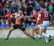 Jesse Sene-Lafao of Castleford Tigers tries to make a break during the Pre-season Friendly match at Belle Vue, Wakefield<br /> Picture by Richard Land/Focus Images Ltd +44 7713 507003<br /> 15/01/2017