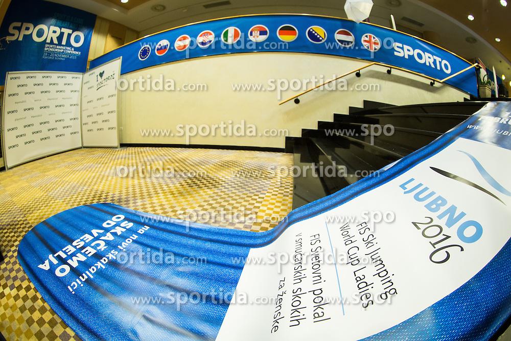 Place with printed Ljubno ski jump hill during Sports marketing and sponsorship conference Sporto 2015, on November 19, 2015 in Hotel Slovenija, Congress centre, Portoroz / Portorose, Slovenia. Photo by Vid Ponikvar / Sportida