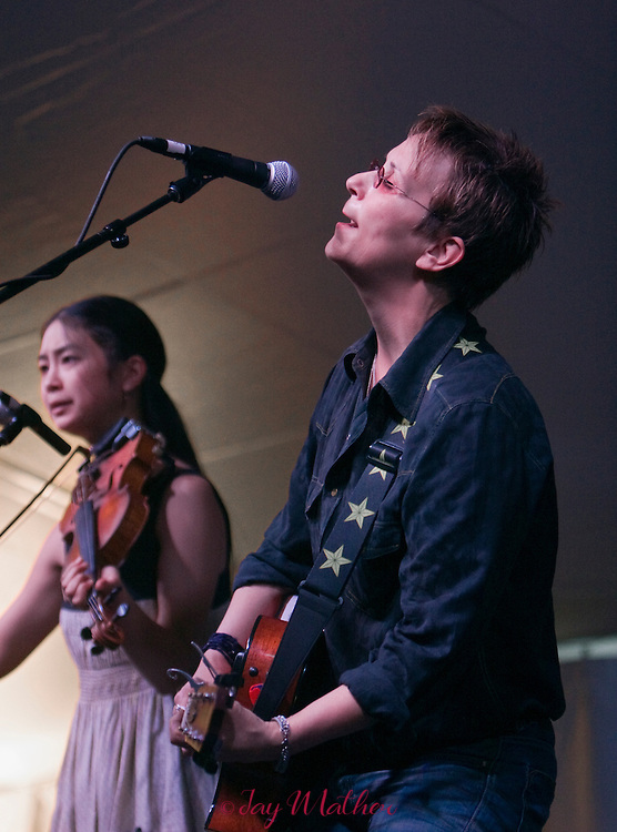 Mary Gauthier and Annie Staninec at the Village Green venue.
