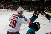KELOWNA, CANADA - FEBRUARY 10: Nolan Foote #29 of the Kelowna Rockets skates to the bench to celebrate a hat trick goal against the Vancouver Giants on February 10, 2017 at Prospera Place in Kelowna, British Columbia, Canada.  (Photo by Marissa Baecker/Shoot the Breeze)  *** Local Caption ***