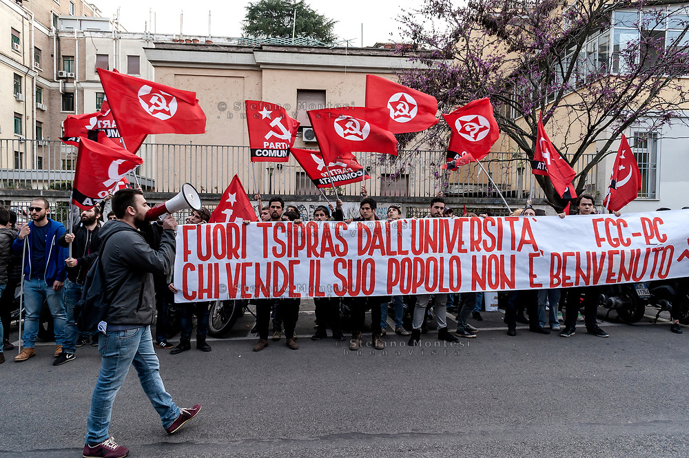 ROME, ITALY - MARCH 23: The militants of the Front of the Communist Youth protest the attendance of the Greek Prime Minister Alexis Tsipras who has participated in the meeting 'Transform Europe' held at University La Sapienza on March 23, 2017 in Rome, Italy. Members of the radical left various parties and associations atthended the university courtroom to hear the Greek Prime Minister.