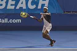 February 23, 2018 - Delray Beach, FL, United States - Delray Beach, FL - February 23: Hyeon Chung (KOR) plays Francis Tiafoe (USA) during their quarter-finals match at the 2018 Delray Beach Open held at the Delray Beach Tennis Center in Delray Beach, Florida.   Credit: Andrew Patron/Zuma Wire (Credit Image: © Andrew Patron via ZUMA Wire)