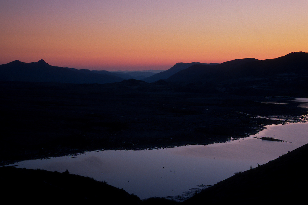 Spirit Lake at Dusk from Windy Ridge, Mt. St. Helens National Volcanic Monument, Washington, US