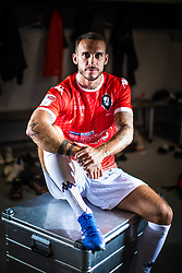 © Licensed to London News Pictures . 29/07/2019. Salford , UK . Team captain LIAM HOGAN in the away changing room at the club . Salford Football Club hold a pre-season photocall at the Peninsula Stadium , Moor Lane . Photo credit : Joel Goodman/LNP