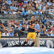 Goal scorer Matt Miazga, (right), New York Red Bulls, and team mate Felipe ran to the pitching mound at Yankee Stadium to celebrate the goal in baseball fashion during the New York City FC Vs New York Red Bulls, MSL regular season football match at Yankee Stadium, The Bronx, New York,  USA. 28th June 2015. Photo Tim Clayton