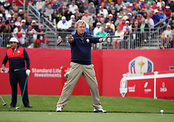 Europe's Nigel Lythgoe during a celebrity golf match ahead of the 41st Ryder Cup at Hazeltine National Golf Club in Chaska, Minnesota, USA.