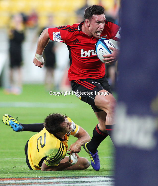 Crusaders' Ryan Crotty heads in to score during Super Rugby match, Hurricanes V Crusaders at Westpac Stadium, Wellington, Friday 8 March 2013. Photo.: Grant Down / photosport.co.nz