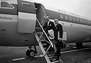 "26/07/1967<br /> 07/26/1967<br /> 26 July 1967<br /> Taoiseach departs Dublin Airport for talks in Brussels. Taoiseach Jack Lynch left for Brussels where he would hold talks with regard to Ireland's application for membership of the Common Market accompanied by Mr. Hugh McCann, Secretary, Department of External Affairs. Picture shows the Taoiseach boarding the plane, the ""St Declan"" a BAC 1-11 series 208AL, with Mr. McCann."