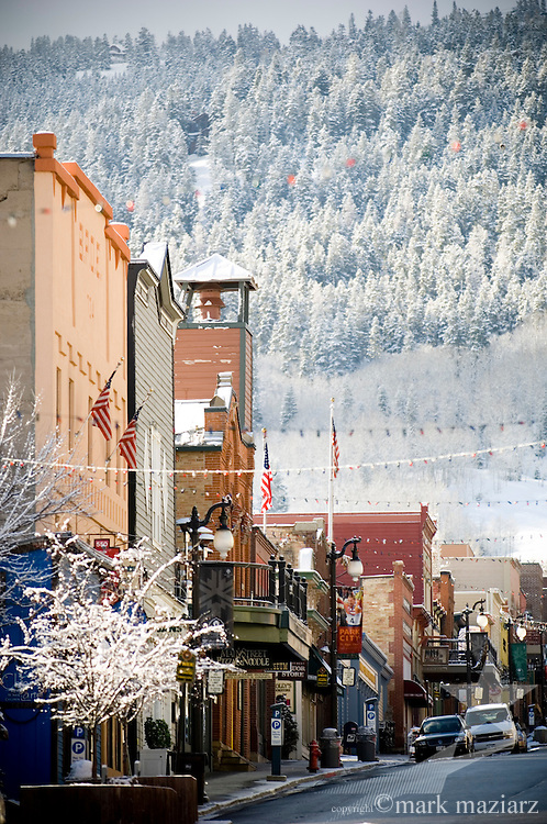 morning with fresh snow on Main Street, Park City