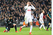 Tottenham Hostpur midfielder Deli Alli (20) after missing header to score hat trick during the Champions League match between Tottenham Hotspur and Real Madrid at Wembley Stadium, London, England on 1 November 2017. Photo by Matthew Redman.