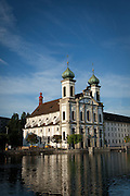 The Jesuit Church of Lucerne, Switzerland in the morning.