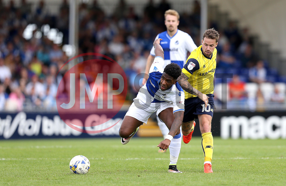 Ellis Harrison of Bristol Rovers gets past Chris Maguire of Oxford United - Mandatory by-line: Robbie Stephenson/JMP - 14/08/2016 - FOOTBALL - Memorial Stadium - Bristol, England - Bristol Rovers v Oxford United - Sky Bet League One