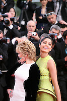 Jane Fonda and Freida Pinto at the gala screening of the film De rouille et d'os at the 65th Cannes Film Festival. Thursday 17th May 2012, the red carpet at Palais Des Festivals in Cannes, France.