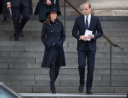 © Licensed to London News Pictures. 14/12/2017. London, UK. The Duke and Duchess of Cambridge outside St Paul's Cathedral after attending the Grenfell Tower National Memorial Service mark the six month anniversary of the fire. The service was attended by survivors and relatives of those who lost their lives in the fire, as well as members of the emergency services and members of the Royal family. 71 people were killed when a huge fire ripped though 24-storey Grenfell Tower block in west London in June 2017. Photo credit: Peter Macdiarmid/LNP