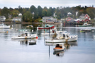 Lobster Boats At Rest On A Misty Morning In Bass Harbor, Mount Desert Island, Acadia National Park, Maine