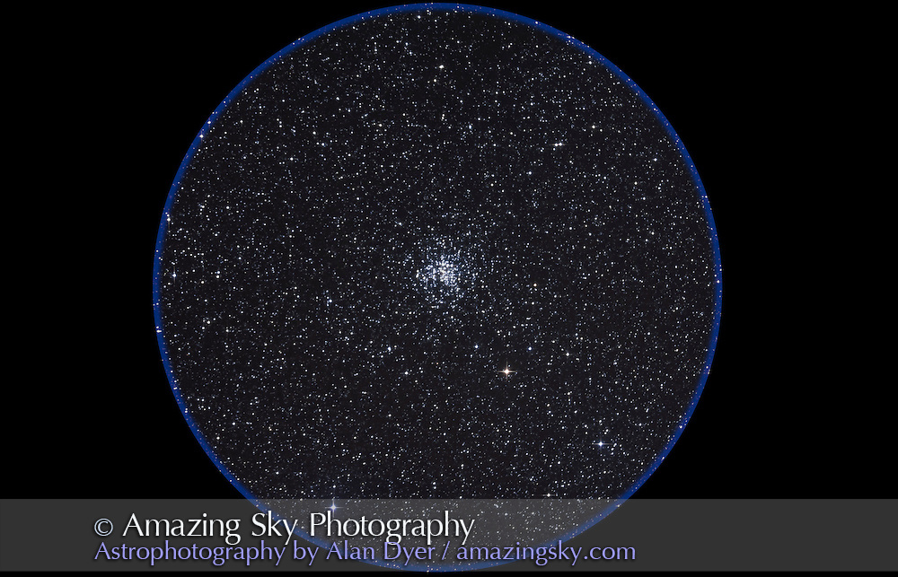 M38 open cluster in Auriga. Taken Nov 5, 2010 with 105mm A&M apo refractor at f/5 with Borg .85x flattener/reducer and Canon 5DMkII at ISO 800 for stack of 5 x 10 minute exposures, Mean combined. Used Celestron CGEM mount and SkyWatcher SynGuider on William Optics 66mm guidescope. All seemed to work well.