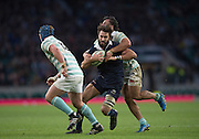Twickenham, United Kingdom. Oxford centre Matt JANNEY, tackled by Daiiel DASS, during the 2015 Men's Varsity Match, Oxford vs Cambridge, RFU Twickenham Stadium, England.<br /> <br /> Thursday  10/12/2015<br /> <br /> [Mandatory Credit. Peter SPURRIER/Intersport Images].