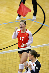 07 September 2011: Jenny Menendez pumps her fist after the Redbirds score a point during an NCAA volleyball match between the Leathernecks of Western Illinois  and the Illinois State Redbirds at Redbird Arena in Normal Illinois.