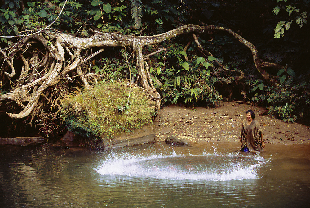 Machiguenga Indian and Cast Net<br />