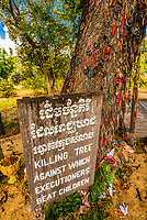 Children were beaten to death against this tree, Choeung Ek, the site of a former orchard and mass grave of victims of the Khmer Rouge - killed between 1975 and 1979 - about 17 kilometres (11 mi) south of Phnom Penh, Cambodia, is the best-known of the sites known as The Killing Fields, where the Khmer Rouge regime executed over one million people between 1975 and 1979. Over 17,000 people were brought here to be killed and buried in mass graves. The memorial here displays over 5,000 skulls from the graves.