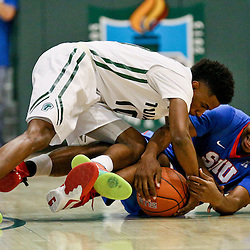 Jan 17, 2016; New Orleans, LA, USA; Southern Methodist Mustangs guard Sterling Brown (3) and Tulane Green Wave guard Von Julien (10) scramble for a loose ball during the first half of a game at the Devlin Fieldhouse. Mandatory Credit: Derick E. Hingle-USA TODAY Sports