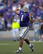 Kansas State quarterback Josh Freeman gets ready to throw down field against Louisville at Bill Snyder Family Stadium in Manhattan, Kansas, September 23, 2006.  The 8th ranked Louisville Cardinals beat K-State 24-6.