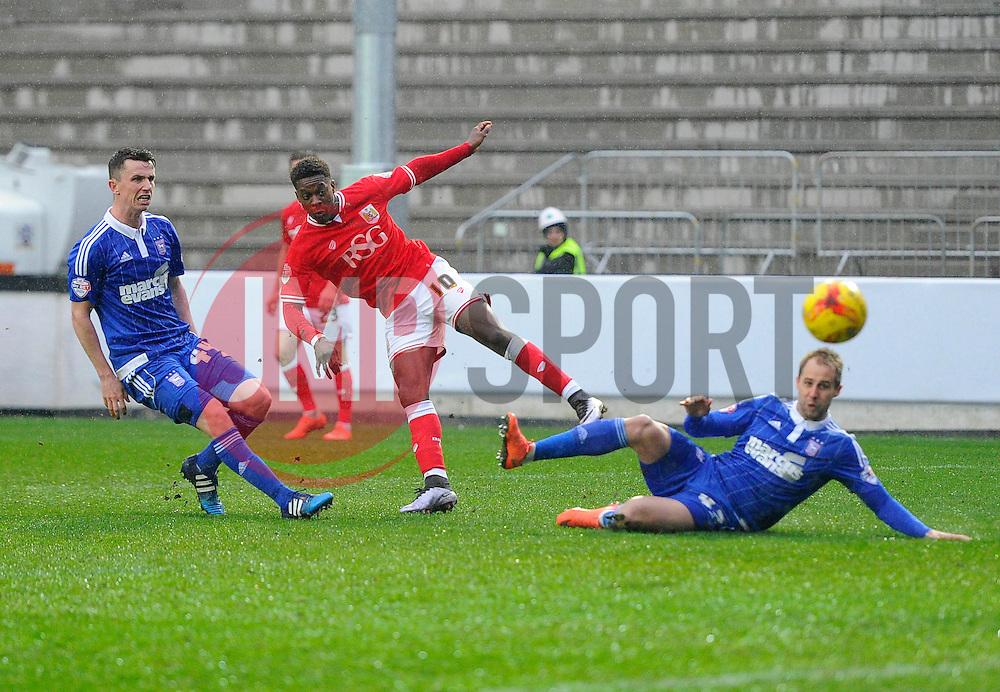 Kieran Agard of Bristol City sees his effort well saved  - Mandatory byline: Joe Meredith/JMP - 13/02/2016 - FOOTBALL - Ashton Gate - Bristol, England - Bristol City v Ipswich Town - Sky Bet Championship