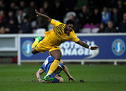 Ellis Harrison of Bristol Rovers is fouled by Paul Robinson of AFC Wimbledon - Mandatory byline: Robbie Stephenson/JMP - 07966 386802 - 26/12/2015 - FOOTBALL - Kingsmeadow Stadium - Wimbledon, England - AFC Wimbledon v Bristol Rovers - Sky Bet League Two
