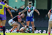 Gerard Beale is injured whilst Jared Waerea-Hargreaves  shows his concern. Sydney Roosters v Vodafone Warriors. NRL Rugby League. Sydney Cricket Ground, Sydney, Australia. 18th August 2019. Copyright Photo: David Neilson / www.photosport.nz