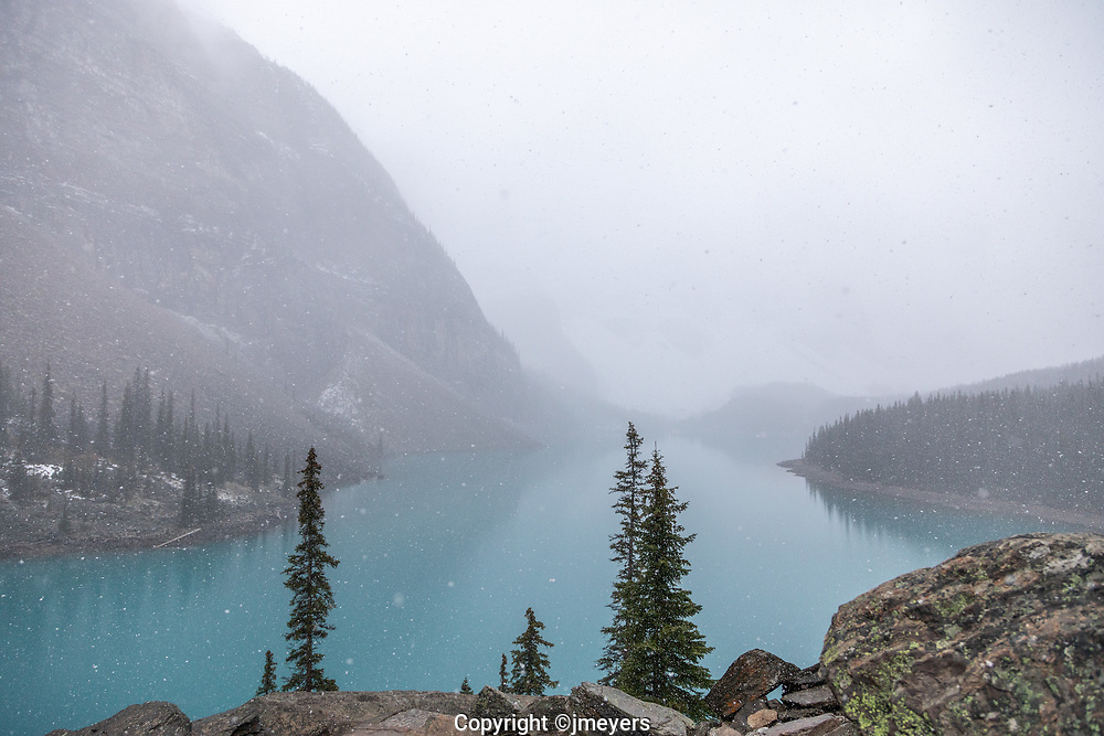 moraine lake in the snow