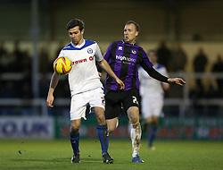 Bristol Rovers' David Clarkson battles with Rochdale's Joe Rafferty - Photo mandatory by-line: Matt Bunn/JMP - Tel: Mobile: 07966 386802 29/12/2013 - SPORT - FOOTBALL - Spotland Stadium - Rochdale - Rochdale v Bristol Rovers - Sky Bet League Two