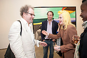 MIKE FIGGIS; PAM HOGG, David Salle private view at the Maureen Paley Gallery. 21 Herlad St. London. E2. <br /> <br />  , -DO NOT ARCHIVE-&copy; Copyright Photograph by Dafydd Jones. 248 Clapham Rd. London SW9 0PZ. Tel 0207 820 0771. www.dafjones.com.