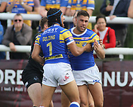 Joel Moon (R) of Leeds Rhinos  celebrates scoring the 1st try of the game against London Broncos during the Super 8s Qualifiers match at Trailfinders Sports Club, Ealing<br /> Picture by Stephen Gaunt/Focus Images Ltd +447904 833202<br /> 19/08/2018