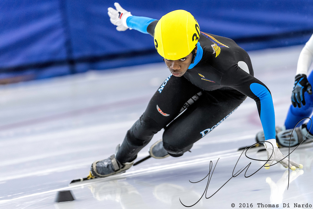 December 17, 2016 - Kearns, UT - Maame Biney skates during US Speedskating Short Track Junior Nationals and Winter Challenge Short Track Speed Skating competition at the Utah Olympic Oval.