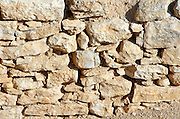 Israel, Negev, Sde Boker area, Maagora, Nabatean strong hold, on the perfume route between Arabia and ports on the Mediterranean sea, cose up of a wall showing the way buildings were constructed by the Nabat
