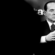 "Italian Prime Minister Silvio Berlusconi  stars at the italian ""RAI"" studios in a politic talk show.The italian politics leader made his first TV appereance after 8 months, to draw a balance of his five years government and to welcome the resignation of Bank of Italy Governor Antonio Fazio."
